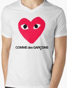 CDG Red Mens V-Neck T-Shirt