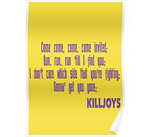 Killjoys theme in purple writing Poster