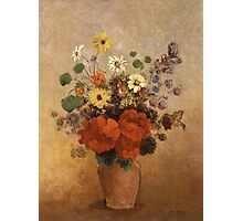 Odilon Redon - Flowers In A Vase. Odilon Redon - still life with flowers. Photographic Print