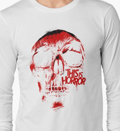 This Is Horror Classic Red on White Skull T-Shirt