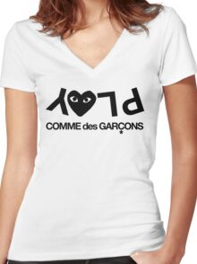 CDG Play  Women's Fitted V-Neck T-Shirt