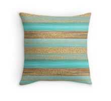 Turquoise Brown Faux Gold Glitter Stripes Pattern Throw Pillow