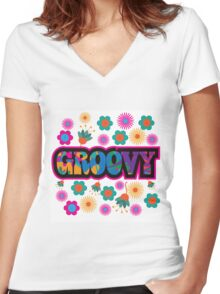 colorful Groovy text design. Women's Fitted V-Neck T-Shirt
