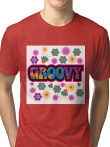 colorful Groovy text design. Tri-blend T-Shirt