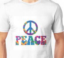 colorful Peace text design. Unisex T-Shirt
