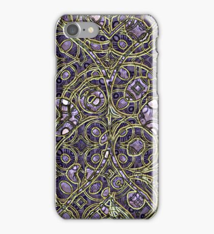 Violet Purple Faux Gold Victorian Swirls Pattern iPhone Case/Skin