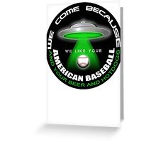 alien baseball Greeting Card