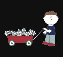 Boy with a red wagon   Kids Tee