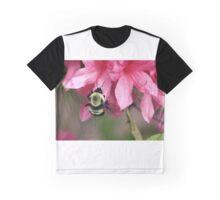 Bee on Pink Azalea Graphic T-Shirt