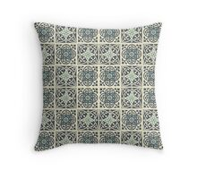 Fleur de lis print in Black Rock Sea Nymph green and Aths Special yellow Throw Pillow