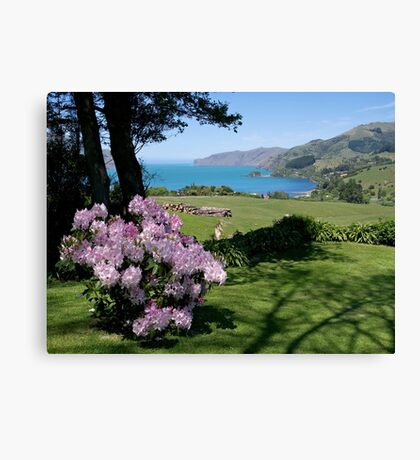 Garden View, Banks Peninsula, South Island, New Zealand. Canvas Print