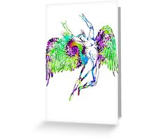 ICARUS THROWS THE HORNS - trippin' on XTC Greeting Card