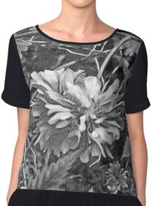 Floral #10 in Black & White Chiffon Top