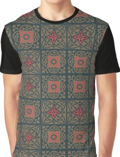 Fleur de lis print in Shadow brown Valencia red and Pickled Bluewood Graphic T-Shirt