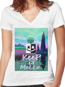 Trippy kEEp iT MeLLo Set Marshmello x Slushii Women's Fitted V-Neck T-Shirt