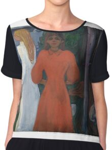 Edvard Munch - Red And White. Munch - woman portrait. Chiffon Top
