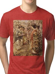 Edward Atkinson Hornel - Five Japanese Girls Among Blossoming Trees. Atkinson Hornel - woman portrait. Tri-blend T-Shirt