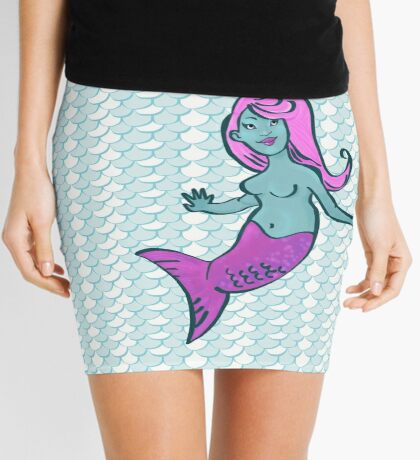 Jewel Mermaid with scale pattern Mini Skirt