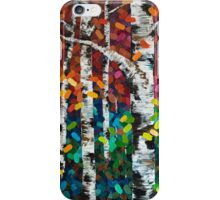 Colourful Autumn Fall Aspen Birch Tree Painting iPhone Case/Skin