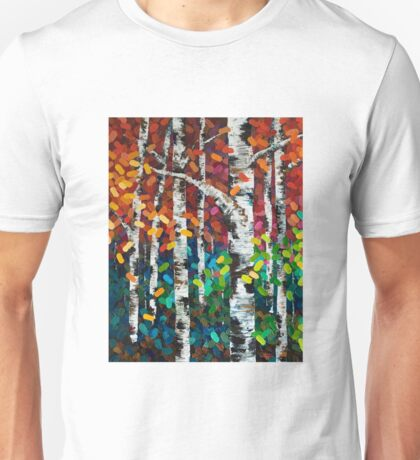 Colourful Autumn Fall Aspen Birch Tree Painting Unisex T-Shirt