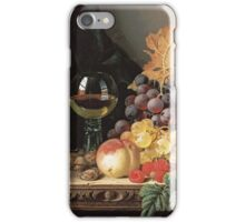 Edward Ladell - A Basket Of Grapes, Raspberries. Edward Ladell - still life with fruits and glass of wine. iPhone Case/Skin