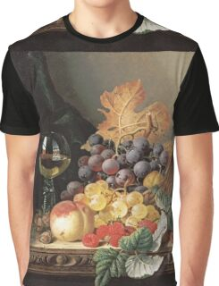 Edward Ladell - A Basket Of Grapes, Raspberries. Edward Ladell - still life with fruits and glass of wine. Graphic T-Shirt