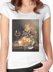 Edward Ladell - A Basket Of Grapes, Raspberries. Edward Ladell - still life with fruits and glass of wine. Women's Fitted Scoop T-Shirt