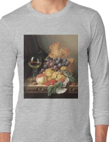 Edward Ladell - A Basket Of Grapes, Raspberries. Edward Ladell - still life with fruits and glass of wine. Long Sleeve T-Shirt