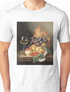 Edward Ladell - A Basket Of Grapes, Raspberries. Edward Ladell - still life with fruits and glass of wine. Unisex T-Shirt