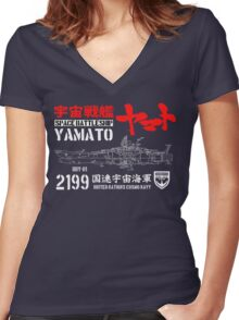 CLASSIC JAPAN ANIME SPACE BATTLESHIP YAMATO STAR BLAZERS COSMO NAVY 2199 Women's Fitted V-Neck T-Shirt
