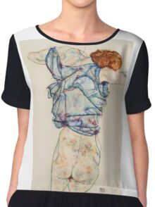Egon Schiele - Woman Undressing. Schiele - woman portrait. Chiffon Top
