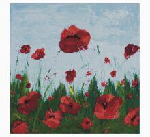 Field of Red Poppy Flowers Kids Tee