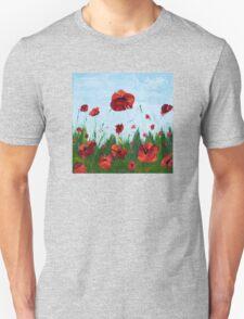 Field of Red Poppy Flowers Unisex T-Shirt