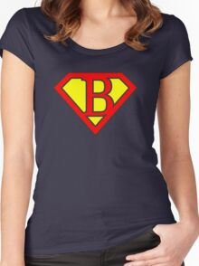 B letter in Superman style Women's Fitted Scoop T-Shirt