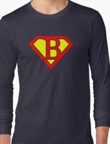 B letter in Superman style Long Sleeve T-Shirt