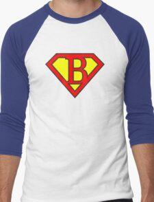 B letter in Superman style Men's Baseball ¾ T-Shirt