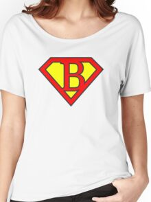 B letter in Superman style Women's Relaxed Fit T-Shirt
