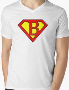 B letter in Superman style Mens V-Neck T-Shirt