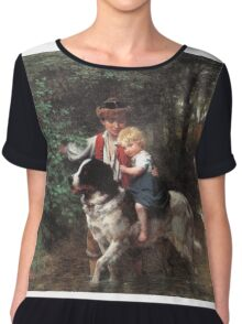 Ernst Bosch - A Safe Crossing. Ernst Bosch - girl portrait. Chiffon Top