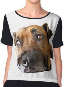 Puppy Dog Vector Portrait Chiffon Top