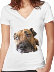 Puppy Dog Vector Portrait Women's Fitted V-Neck T-Shirt