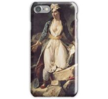 Eugene Delacroix  - Greece Expiring On The Ruins Of Missolonghi.  Delacroix  - woman portrait. iPhone Case/Skin