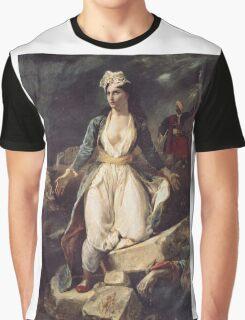 Eugene Delacroix  - Greece Expiring On The Ruins Of Missolonghi.  Delacroix  - woman portrait. Graphic T-Shirt