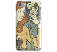 Eugene Samuel Grasset  - Salon Des Cent 1894. Eugene Samuel Grasset  - woman portrait. iPhone Case/Skin