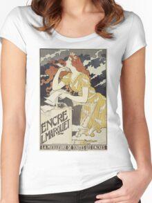 Eugene Samuel Grasset  - Encre L. Marquet 1892. Eugene Samuel Grasset  - woman portrait. Women's Fitted Scoop T-Shirt