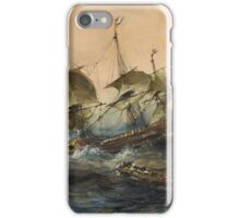 Eugene Isabeyr - Dutch Ships In A Storm 1839.  Isabeyr - sea landscape. iPhone Case/Skin