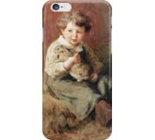 Felix Schlesinger - Pet Rabbit. Felix Schlesinger - boy with Rabbit. iPhone Case/Skin