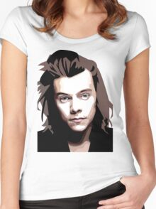 Long hair Vector portrait Women's Fitted Scoop T-Shirt