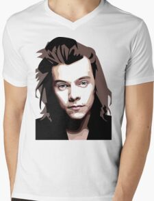 Long hair Vector portrait Mens V-Neck T-Shirt