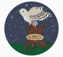 Barn Owl on a Tree Stump One Piece - Short Sleeve